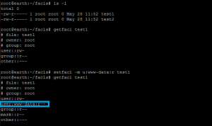 Screenshot of getfacl/setfacl under Linux to apply file access control list.