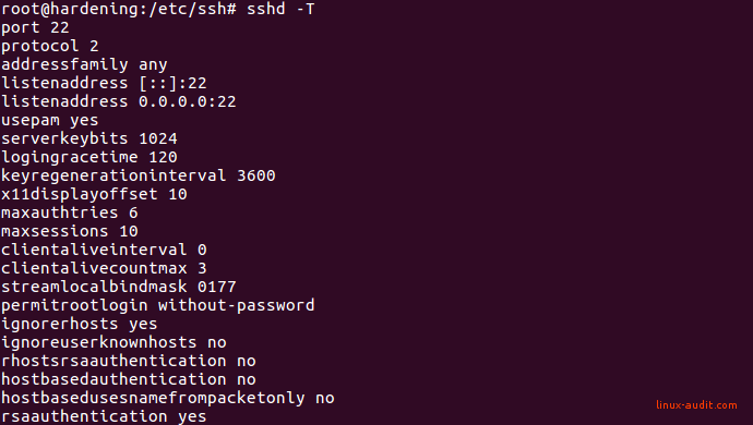 Screenshot of output from sshd -T command to show active SSH settings