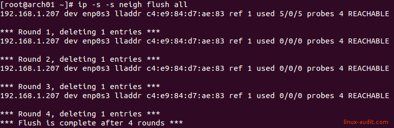 Screenshot of clearing an ARP cache with ip neigh flush command