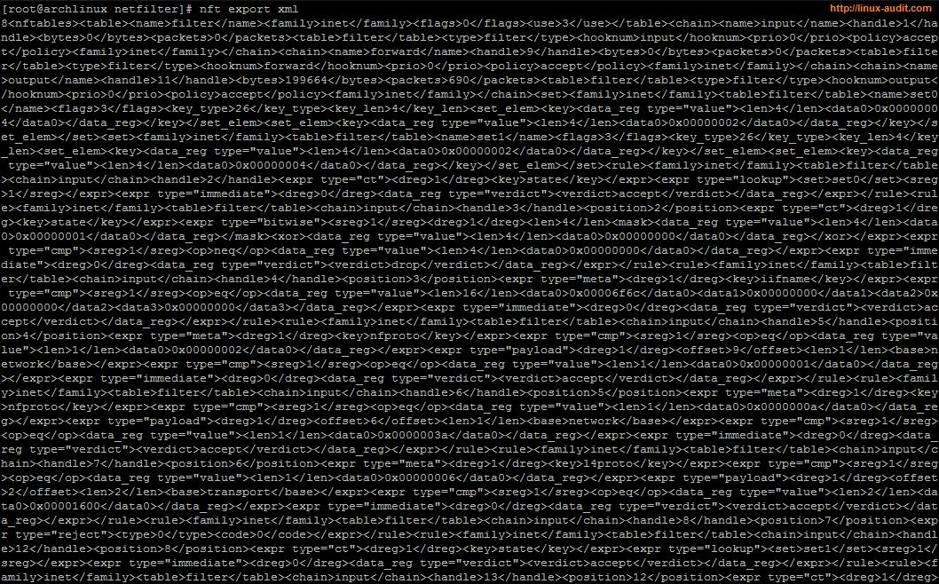 screenshot of nftables export with nft export xml