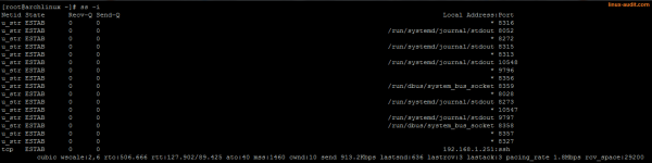 Output of ss -i command with detailed TCP state information