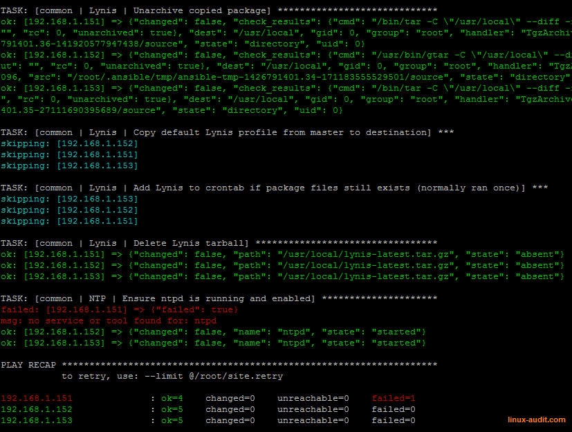 Screenshot of Ansible tooling