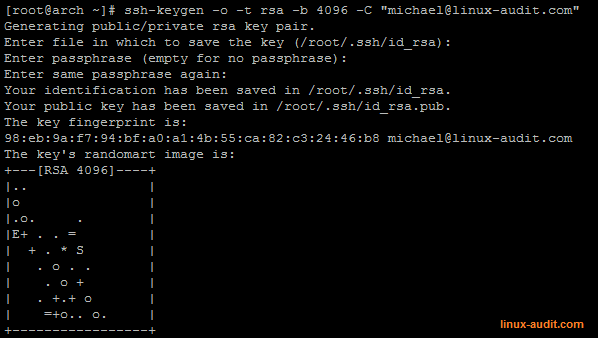 screenshot of ssh-keygen utility for creating RSA key