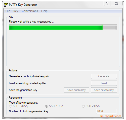 Screenshot of PuTTYgen creating a RSA keypair