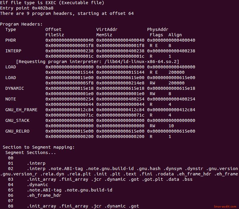 Screenshot of readelf showing program headers of ELF binary