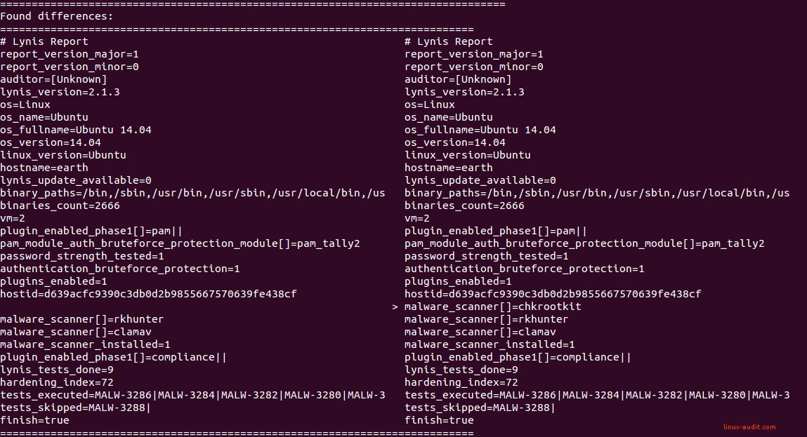 Screenshot of diff tool to determine Lynis differences during security audit
