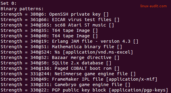 Screenshot of file -l with magic strings