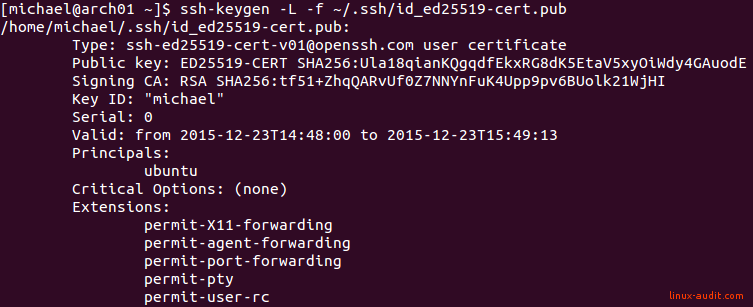 Screenshot of a SSH user certificate to allow temporary access