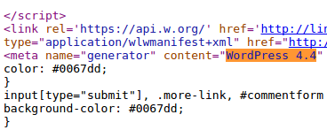 Screenshot of HTML output which discloses WordPress version 4.4