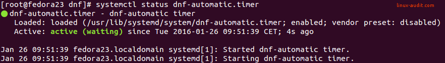 Screenshot of systemctl showing dnf-automatic in enabled status