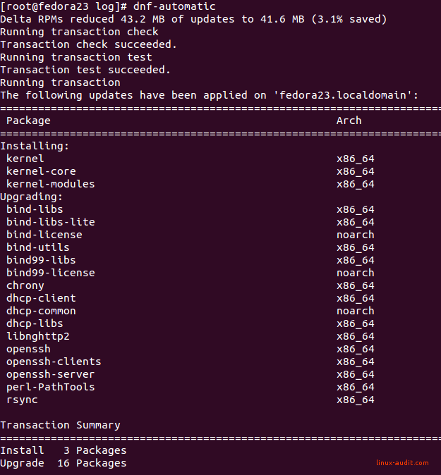 Screenshot of dnf-automatic installing several updates
