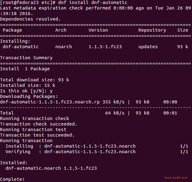 Screenshot of DNF installation of dnf-automatic