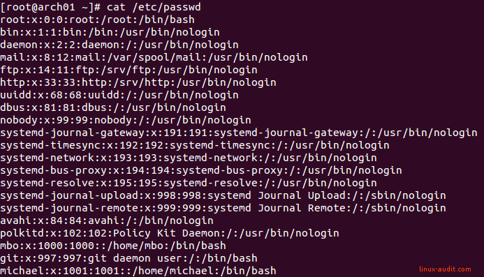 Screenshot of /etc/passwd file on Arch Linux