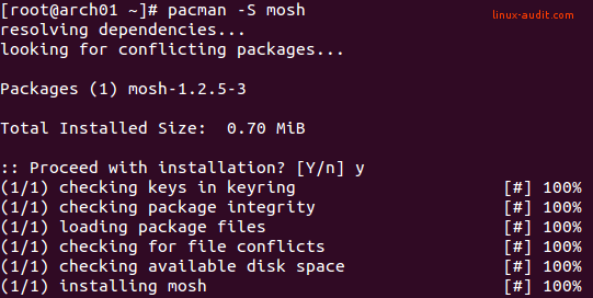 Screenshot of Mosh installation as alternative to SSH