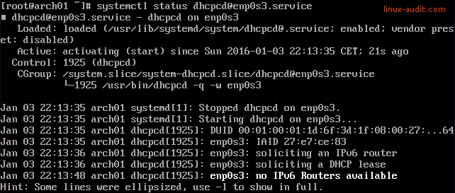Screenshot of systemd showing IPv6 message that no routers are found