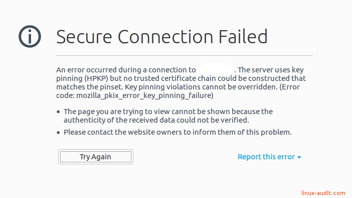 Secure connection failed due to key pinning