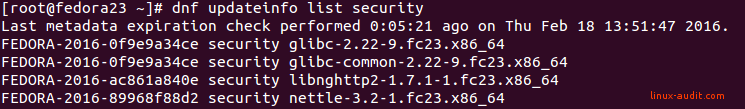Screenshot of DNF showing glibc security patches