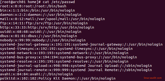 Screenshot of Arch Linux with not so many unused Linux accounts