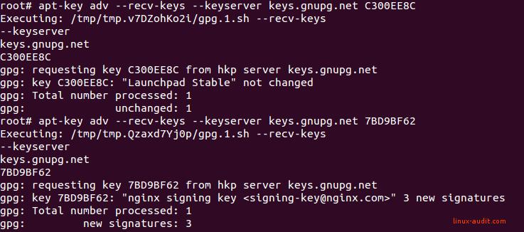 Screenshot of apt to renew an expired APT key