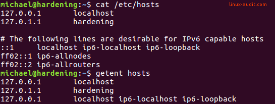 Screenshot showing cat /etc/hosts output and getent hosts