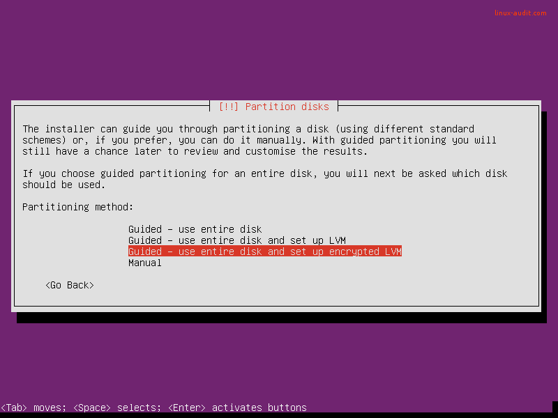Screenshot of hardening Ubuntu server by enabling LVM and encryption